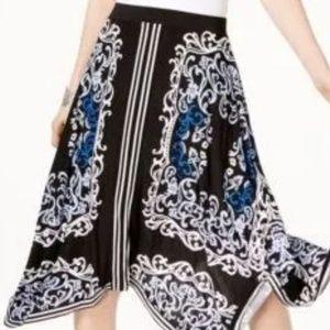 NWT🌹INC Mirror Vines Midi Skirt L Macy's